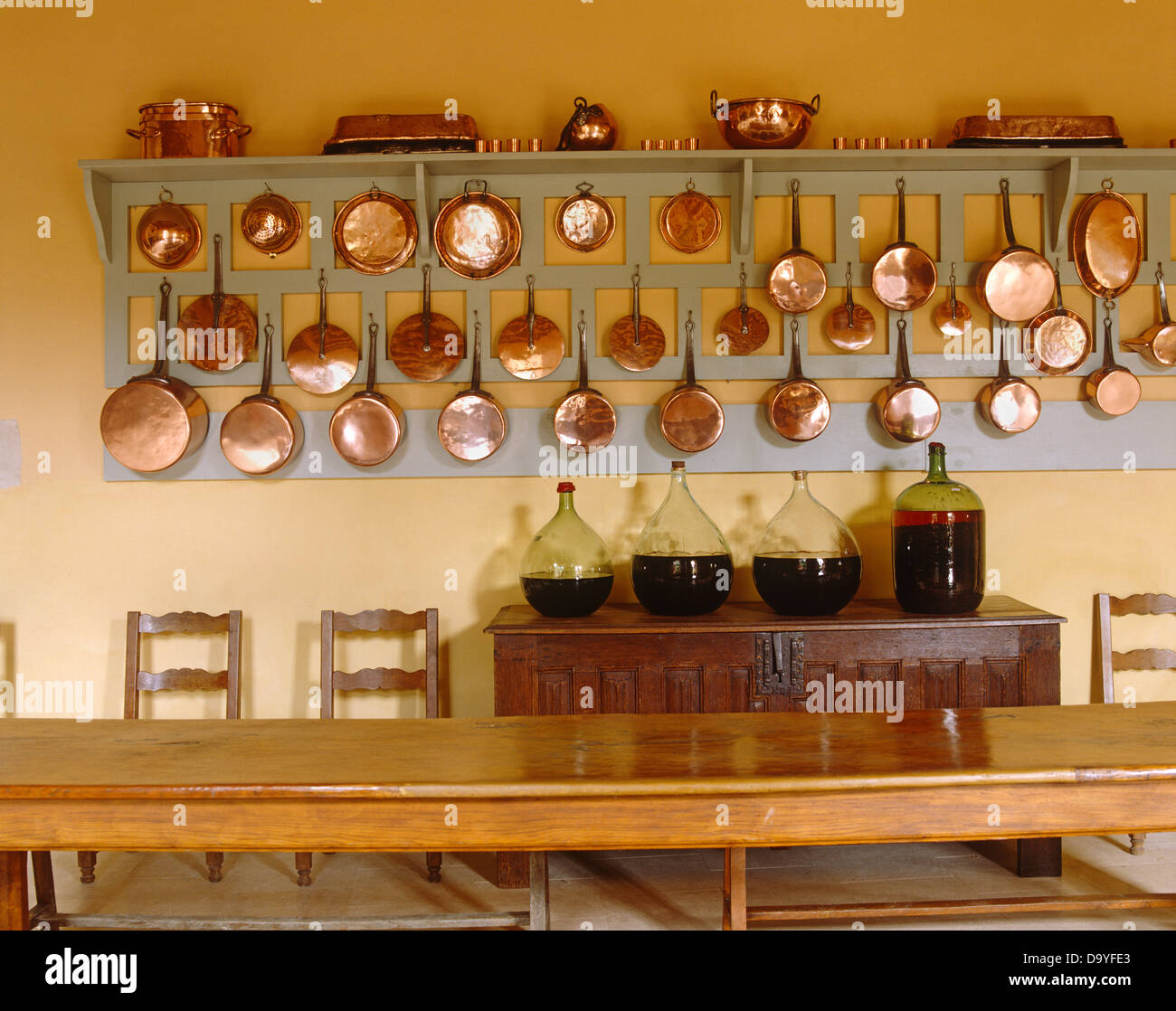 Rows of copper pots and pans on wooden wall rack above ...
