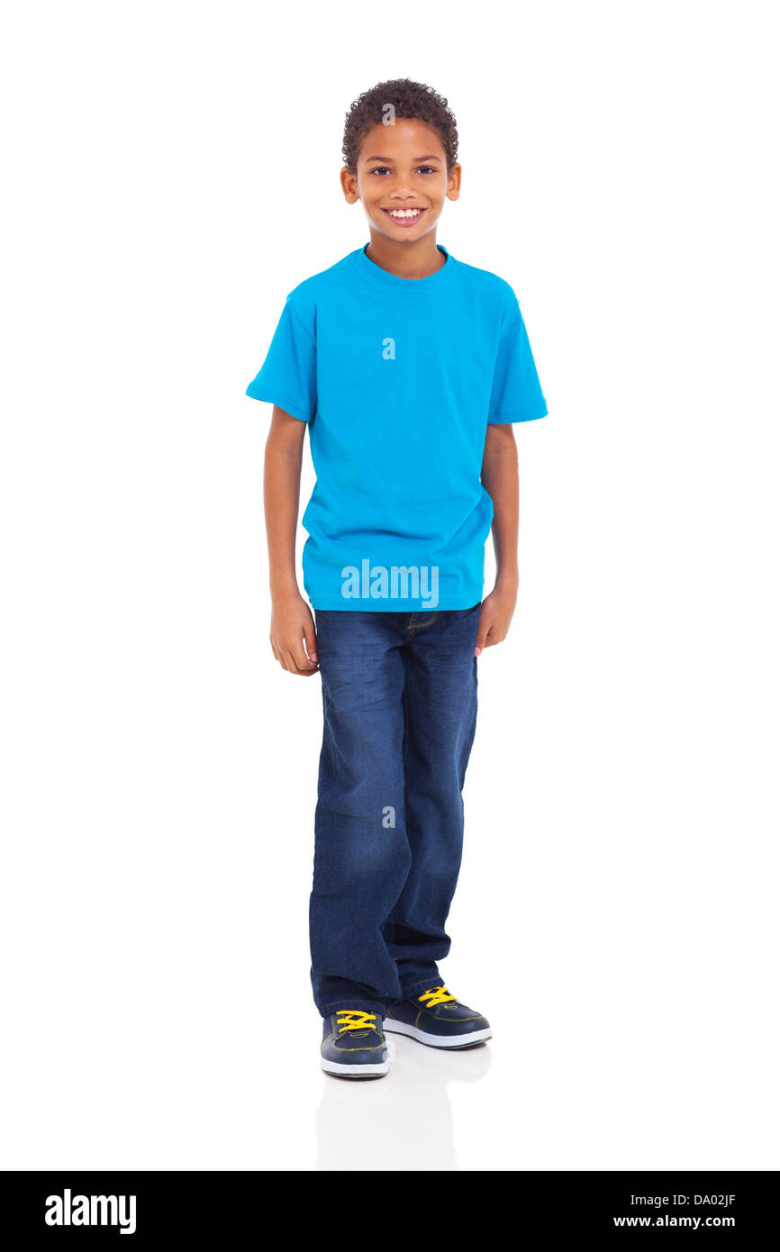 happy young indian boy standing on white background Stock Photo