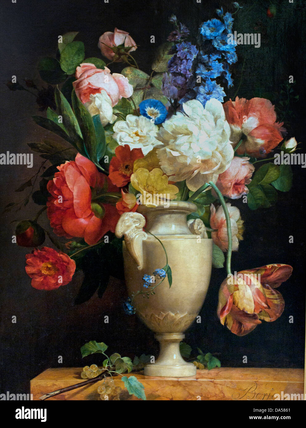 fleurs dans un vase d albatre flowers in a vase of alabaster 1813 stock photo picture and. Black Bedroom Furniture Sets. Home Design Ideas