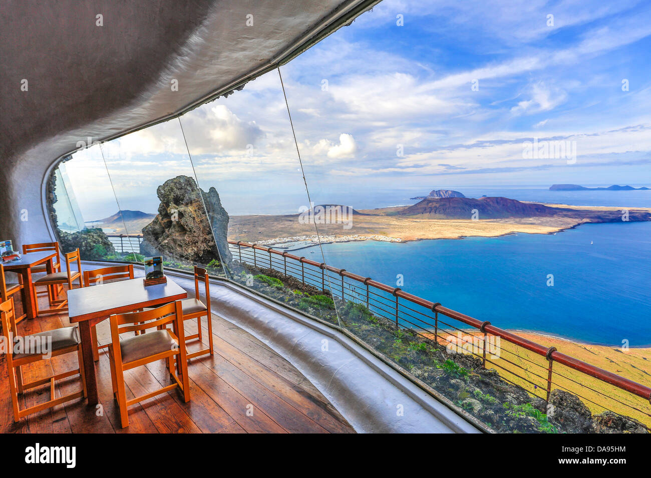 Spain, Europe, Canary Islands, Lanzarote, Mirador del Rio, architecture, bar, Cesar manrique, decoration, display, Stock Photo