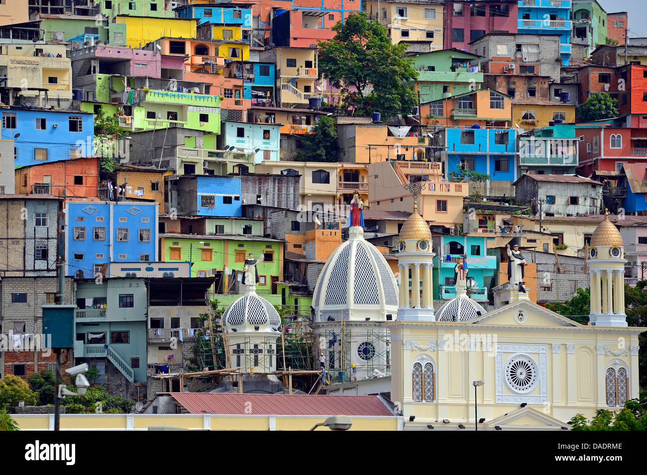 colorful houses in the city, Cerro del Carmen, Ecuador, Guayaquil Stock Photo