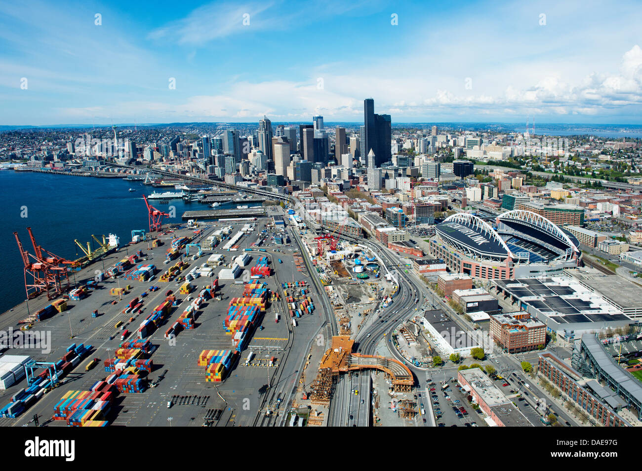Aerial view of shipping harbour seattle washington state usa stock photo royalty free image for Build on your lot washington state