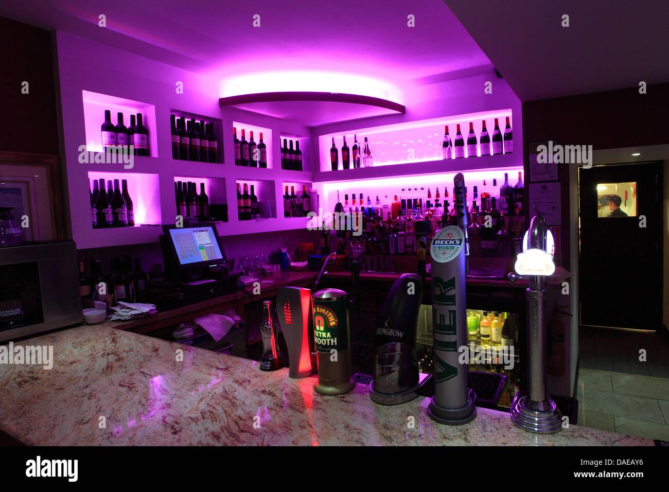 Modern Cafe Bar With Pink Subtle Lighting Public House