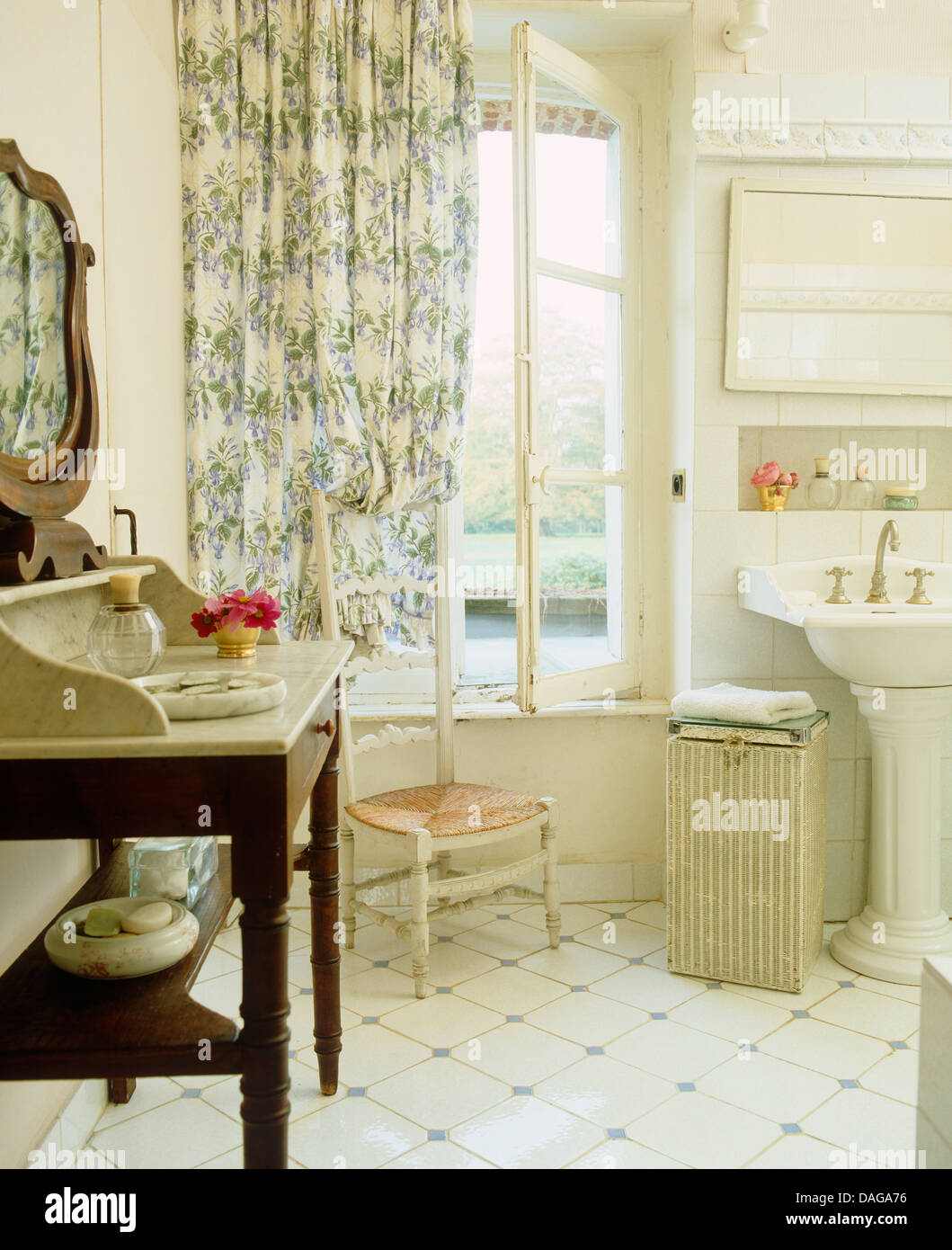 Blue And White Bathrooms Country: Marble Topped Washstand And White Tiled Floor In French