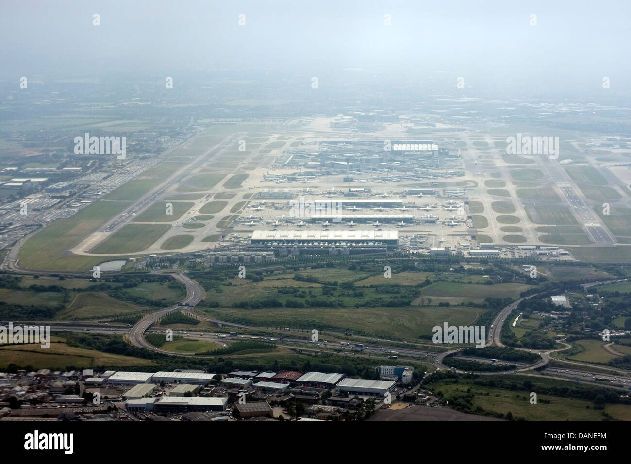 Aerial view of London Heathrow Airport Stock Photo