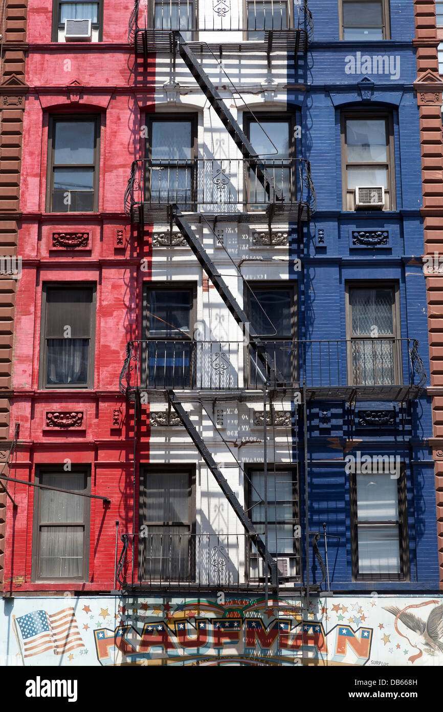 Colorful Apartment Buildings With Fire Escapes In New York City Stock Photo