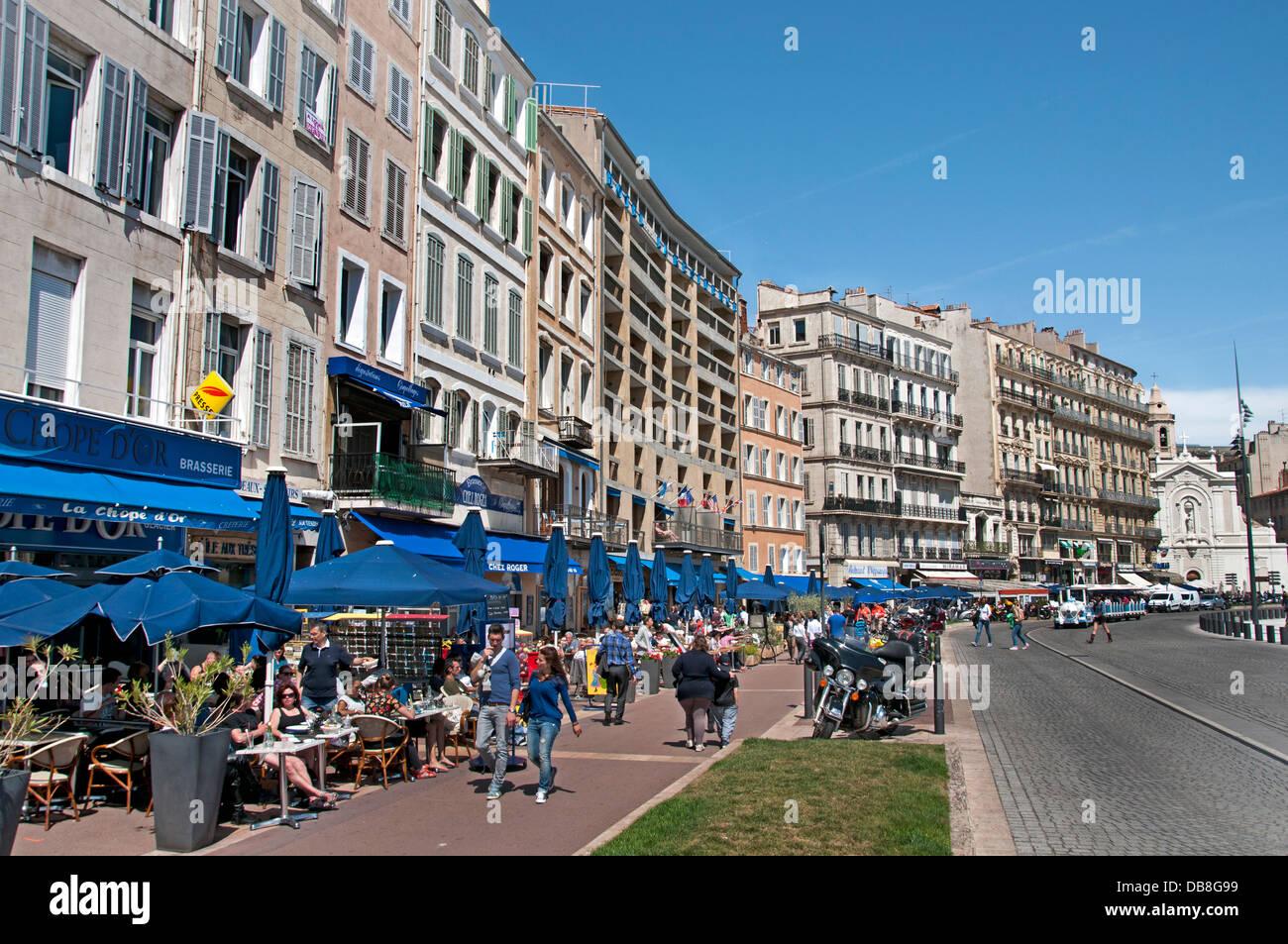 quai du port restaurant cafe bar pub marseilles vieux port stock photo royalty free