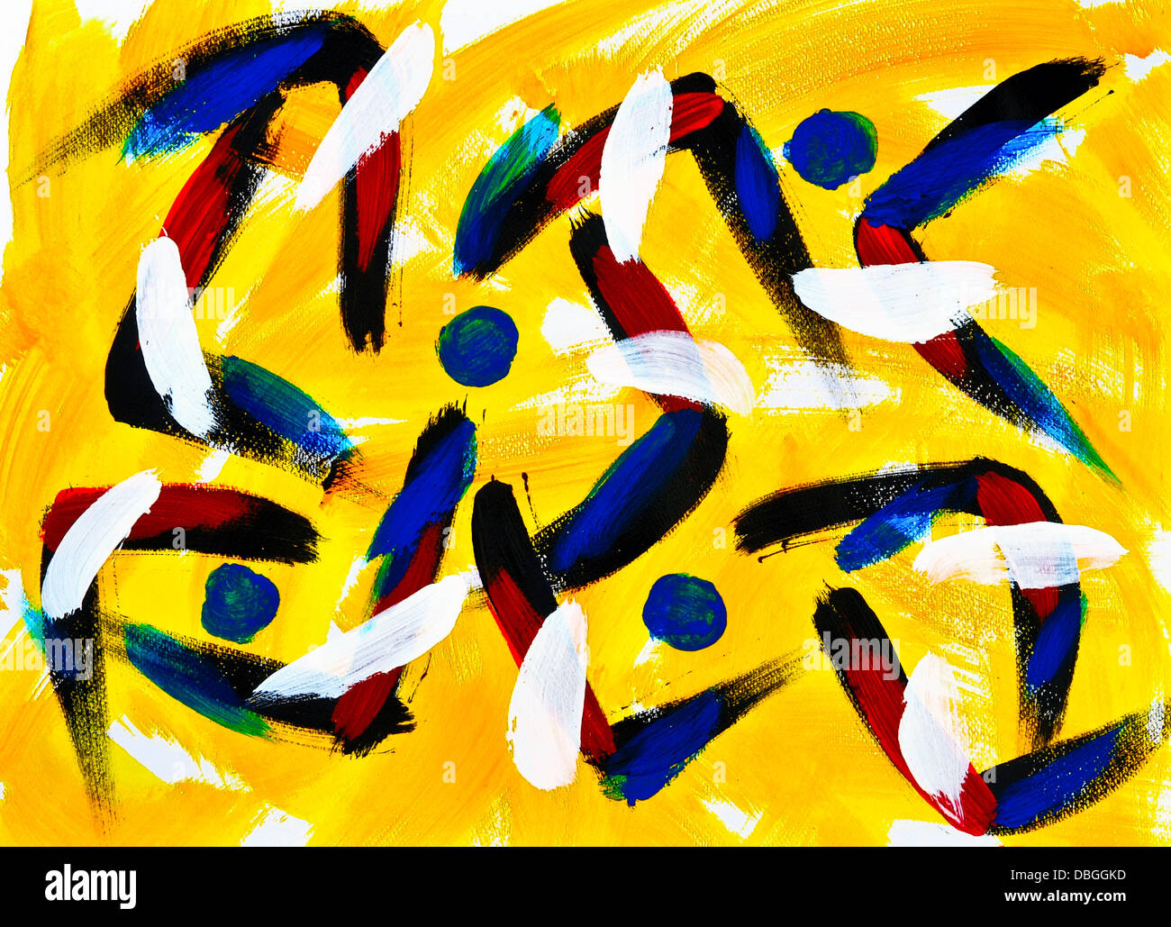 Abstract acrylic painting on paper. Stock Photo