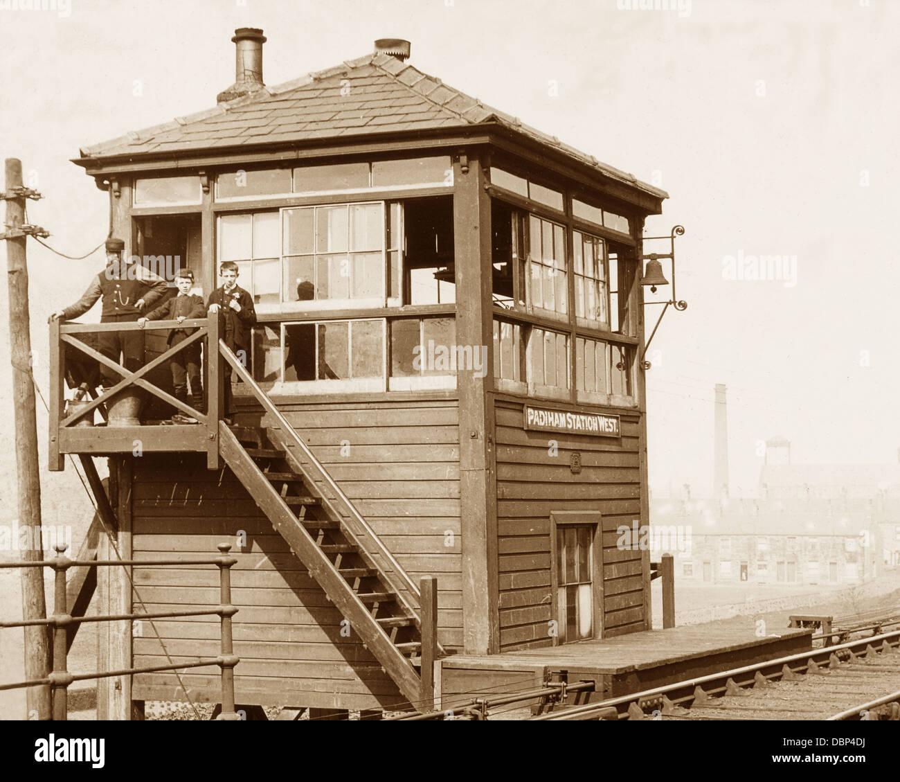 Padiham West Signal Box Victorian period Stock Photo