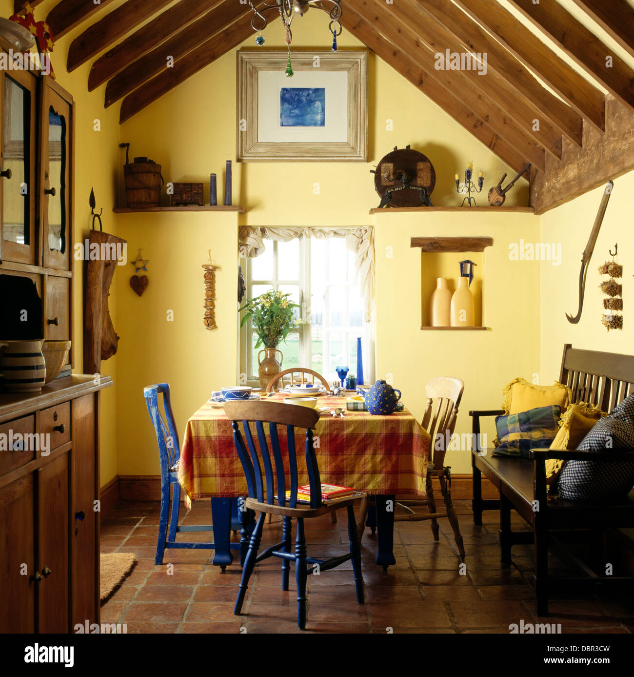 Orange Kitchen Table And Chairs: Blue Painted Chairs At Table With Orange Checked Cloth In