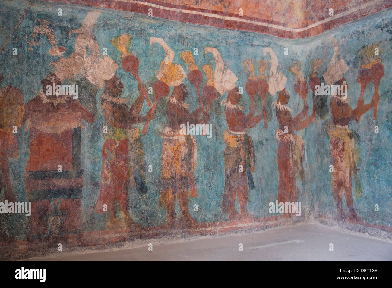 A procession of musicians in room 1 temple of murals for Bonampak mural painting