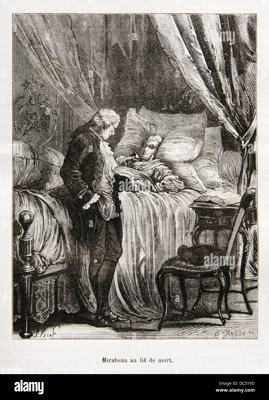 mirabeau on his death bed 18th century france stock. Black Bedroom Furniture Sets. Home Design Ideas
