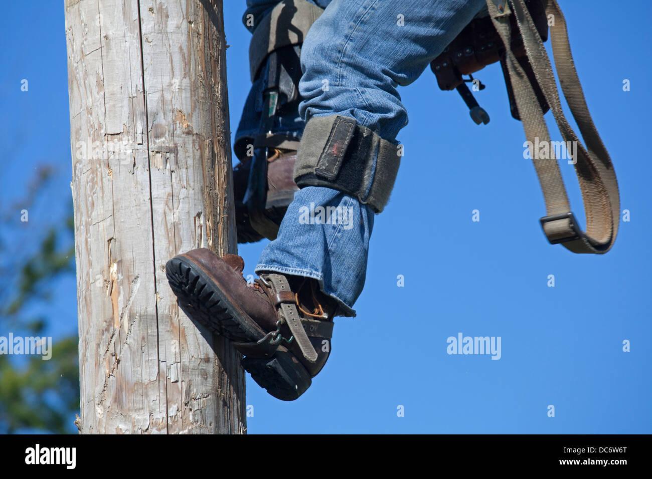 Electric utility linemen climb poles to make repairs ...
