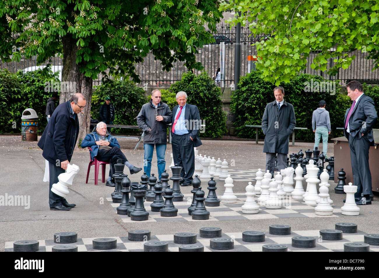 geneva people play chess in the park geneva switzerland europe stock photo royalty free image. Black Bedroom Furniture Sets. Home Design Ideas