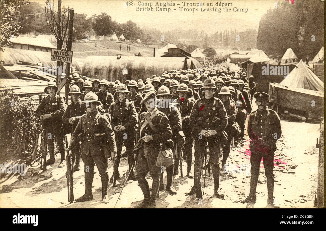 World War One French Postcard Of British Troops Leaving