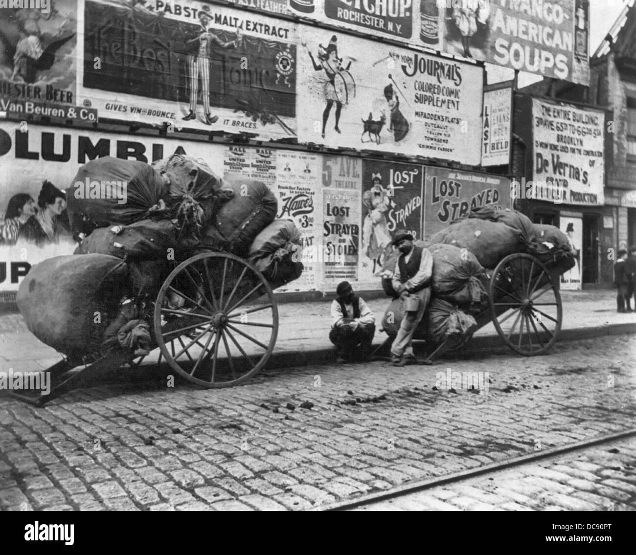 Two rag carts, New York City, circa 1896 Stock Photo