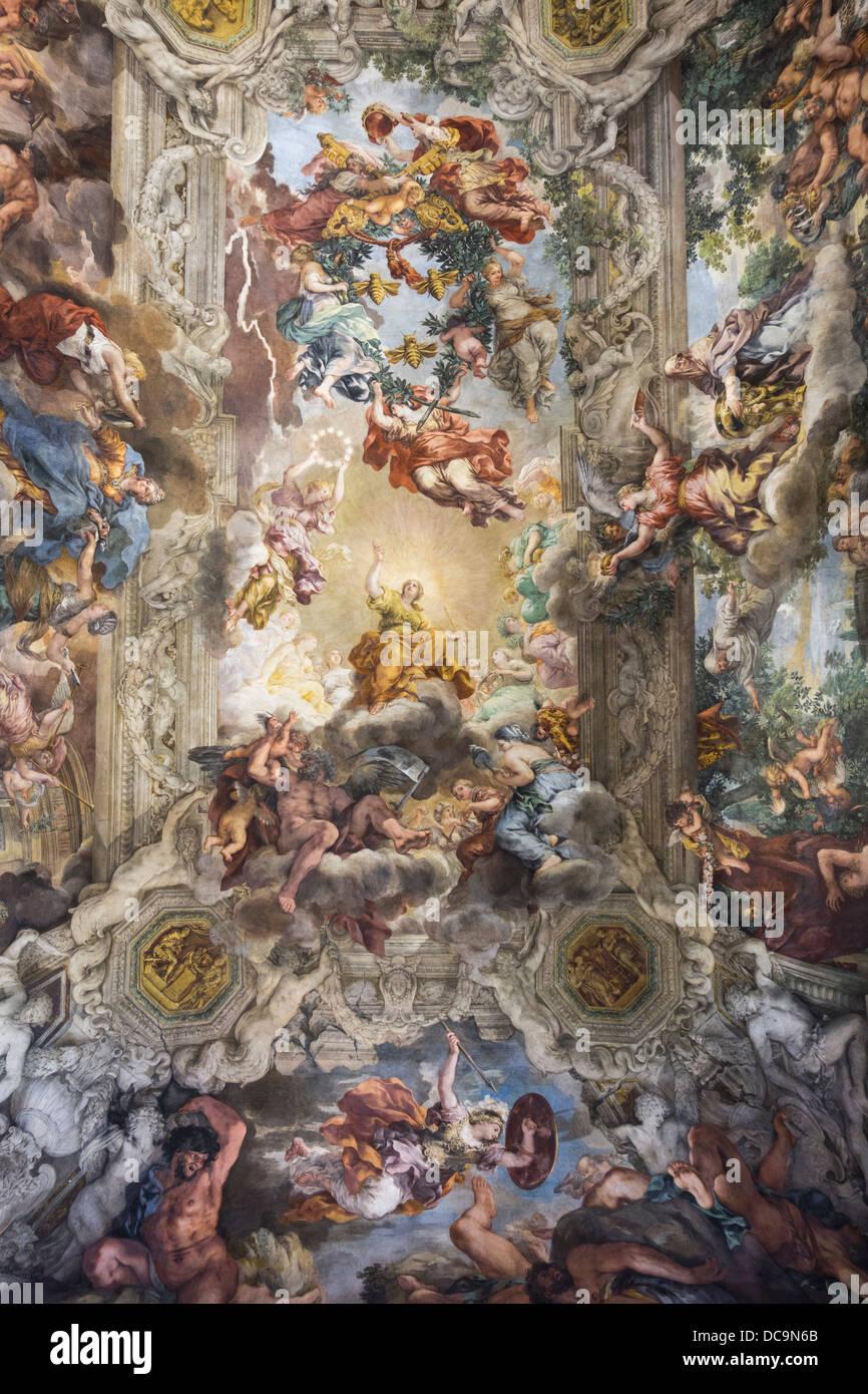 Illusionistic ceiling fresco gran salone palazzo