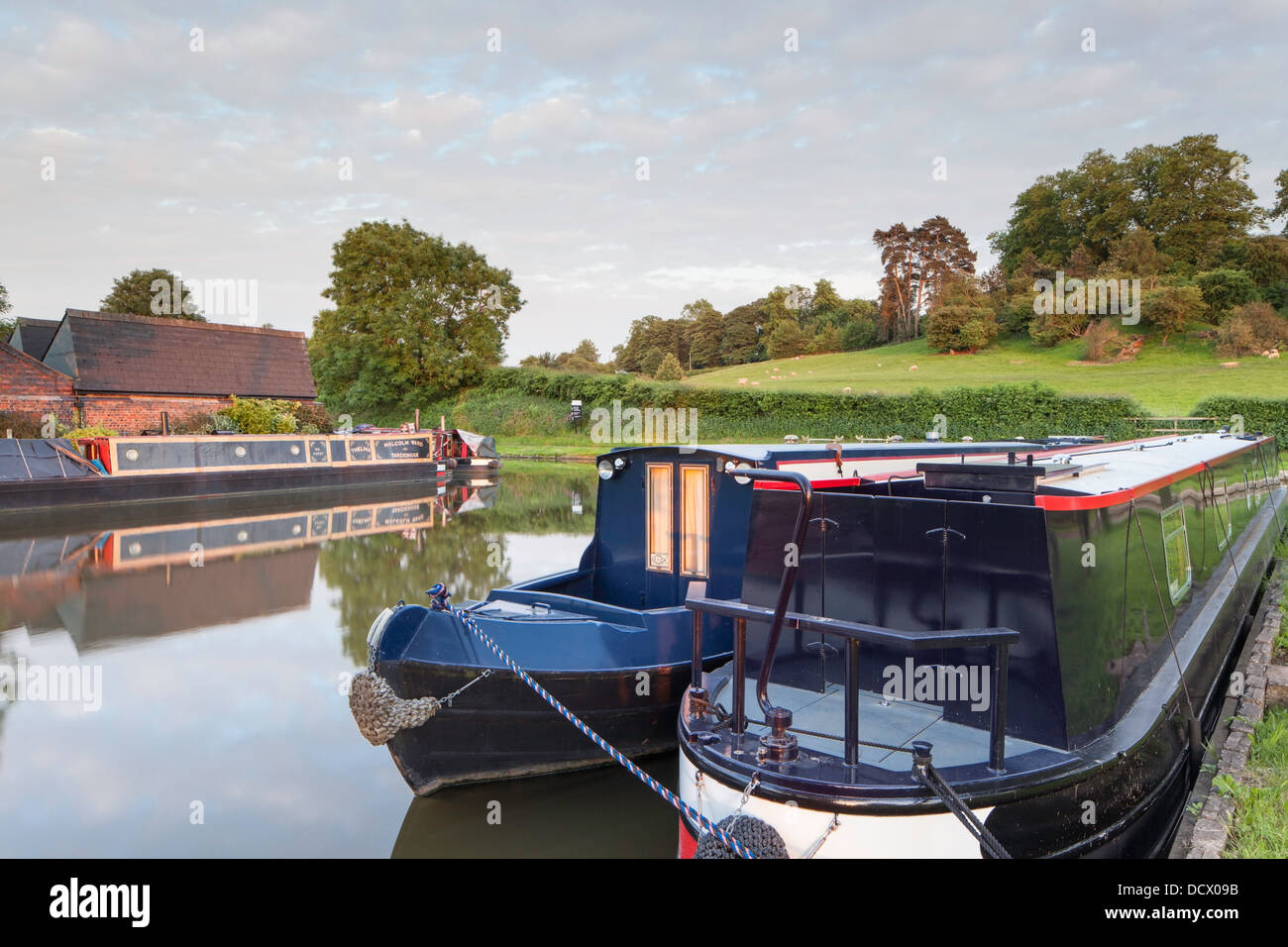 moored narrowboats in evening light on the worcester and. Black Bedroom Furniture Sets. Home Design Ideas