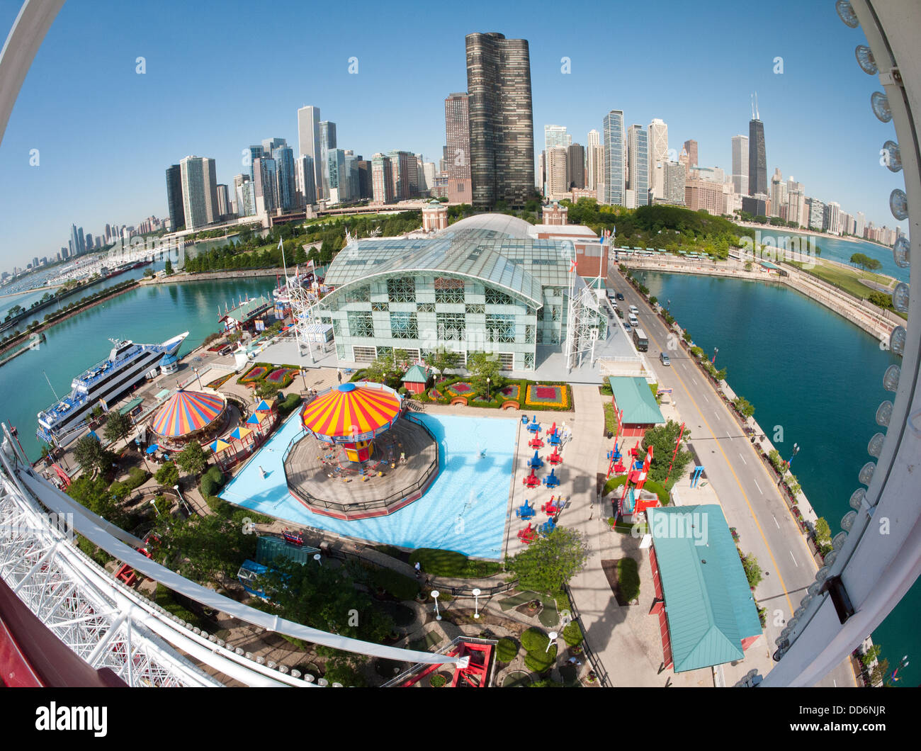 A stunning, spectacular, fisheye view of the Chicago skyline in the morning from the Navy Pier Ferris wheel. Stock Photo