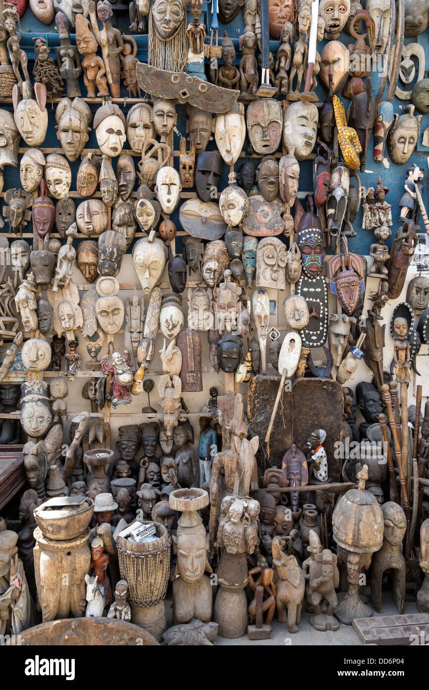 Dakar Senegal Carved African Masks For Sale As