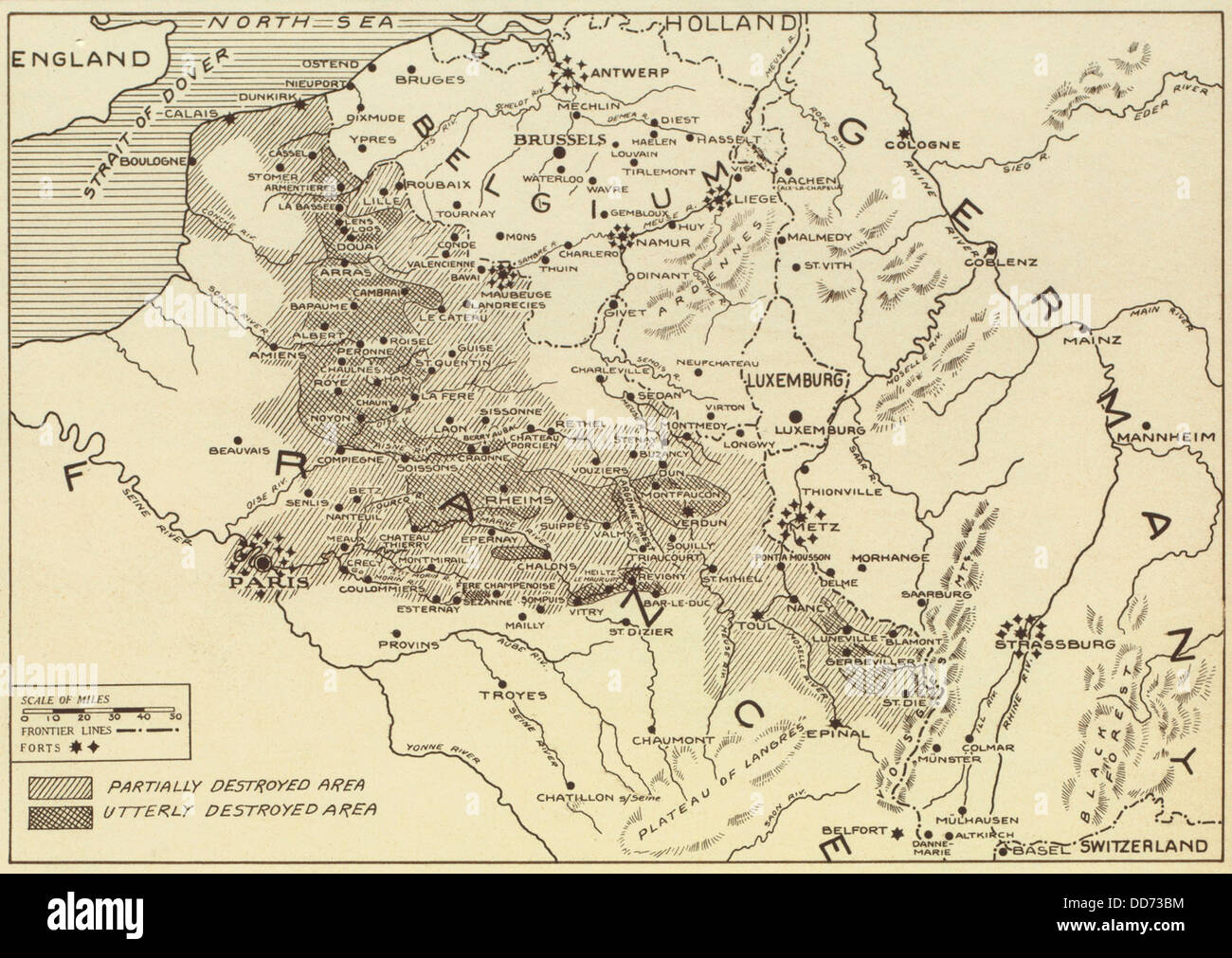 Post World War 1 map of the ruined regions of France in ...