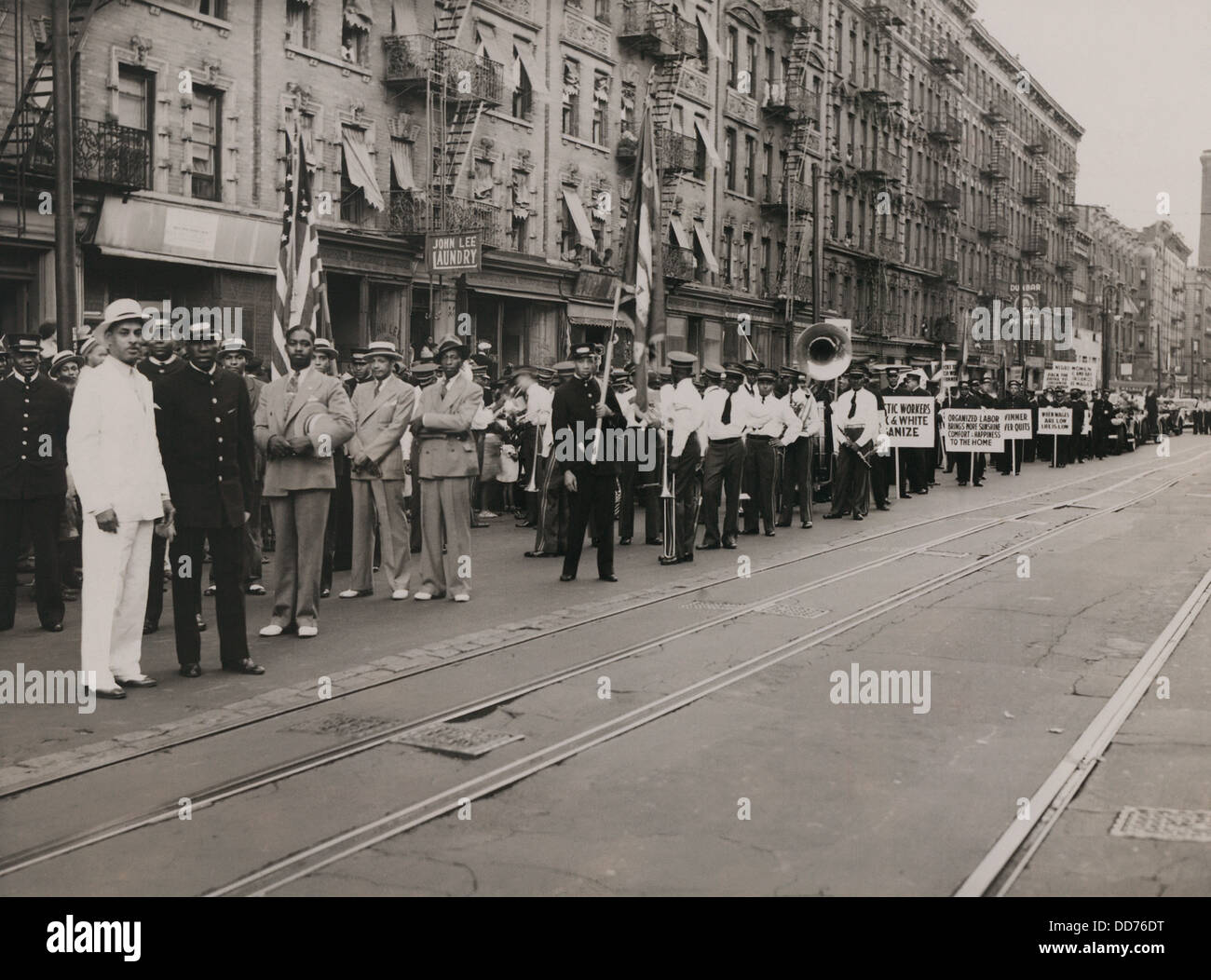 Parade celebrating the 11th anniversary of the Brotherhood of Sleeping Car Porters union, in New York City, 1936. Stock Photo