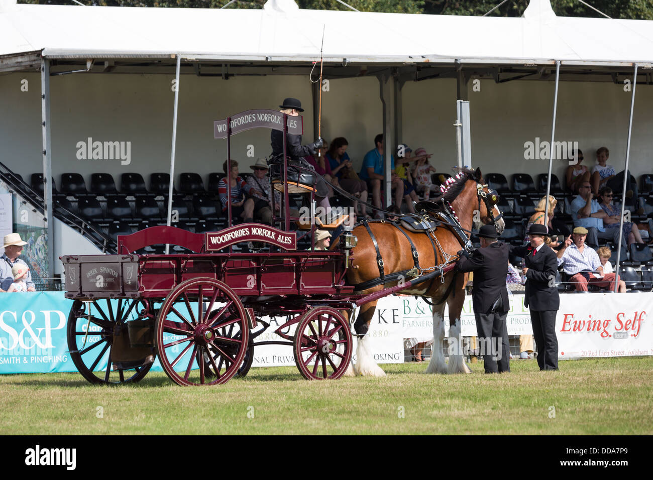 A traditional ale cart and shire horse are judged at a county show in England Stock Photo