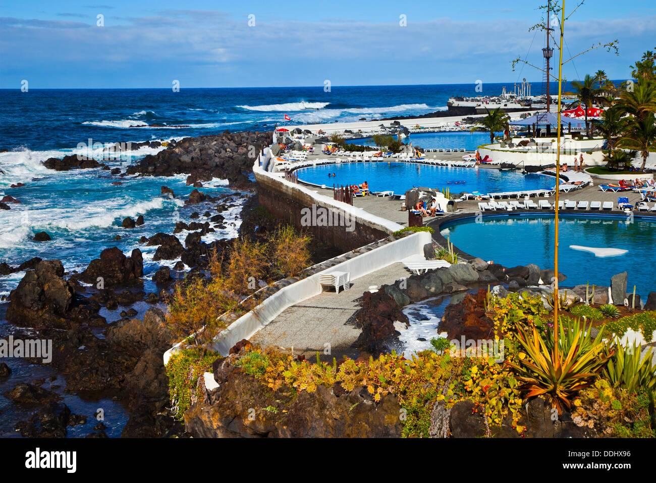 Lago martianez puerto de la cruz tenerife canary islands spain stock photo royalty free image - Puerta de la cruz ...