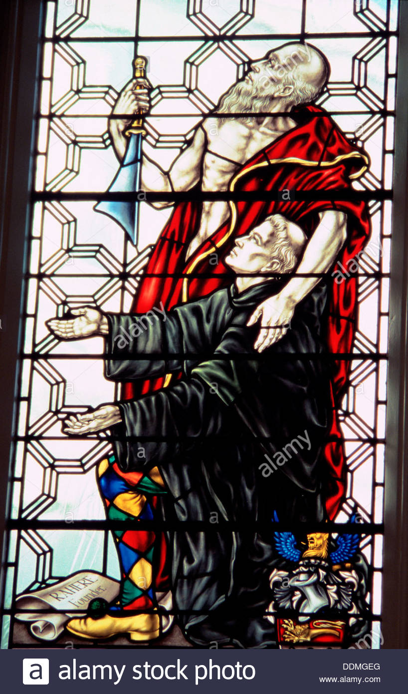 St Bartholomew and Rahere, stained glass window, Church of St Bartholomew the Less, London. Artist: Bill Forbes Stock Photo