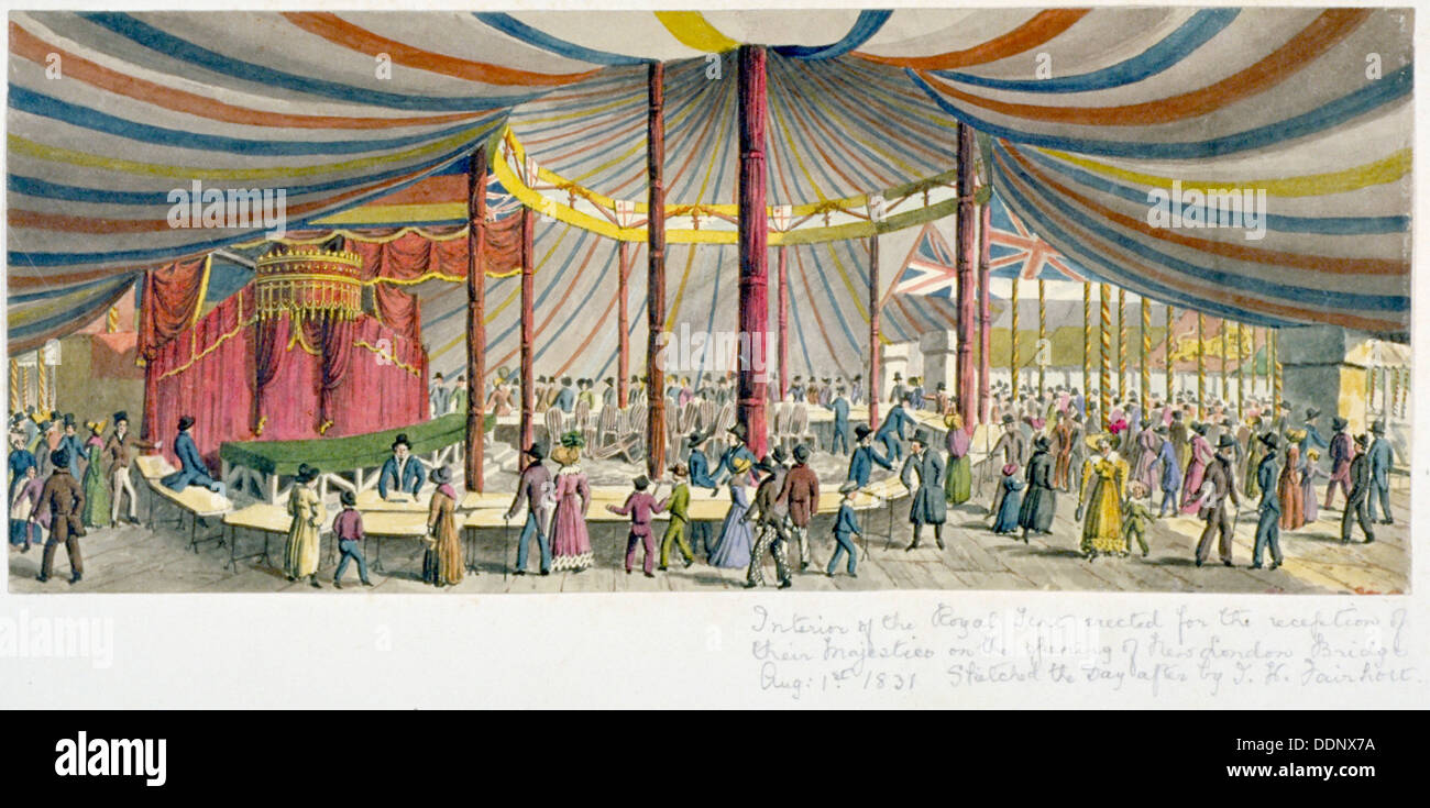 Royal opening of London Bridge, 1831. Artist: JH Fairholt Stock Photo