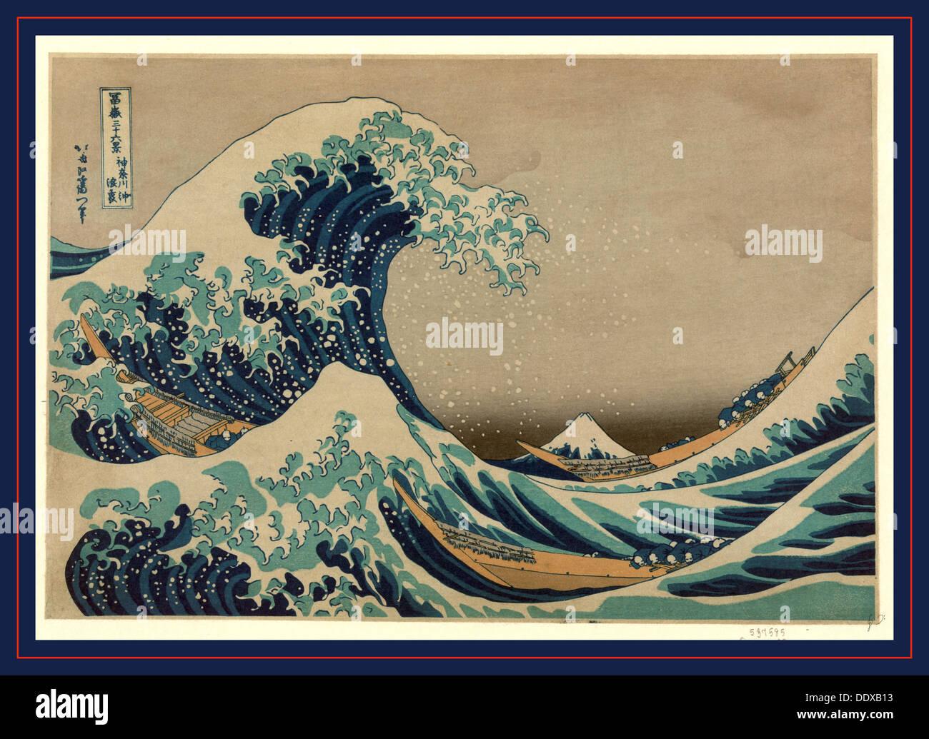 Kanagawa oki nami ura, The great wave off shore of Kanagawa. [between 1826 and 1833, printed later], 1 print : woodcut, Stock Photo