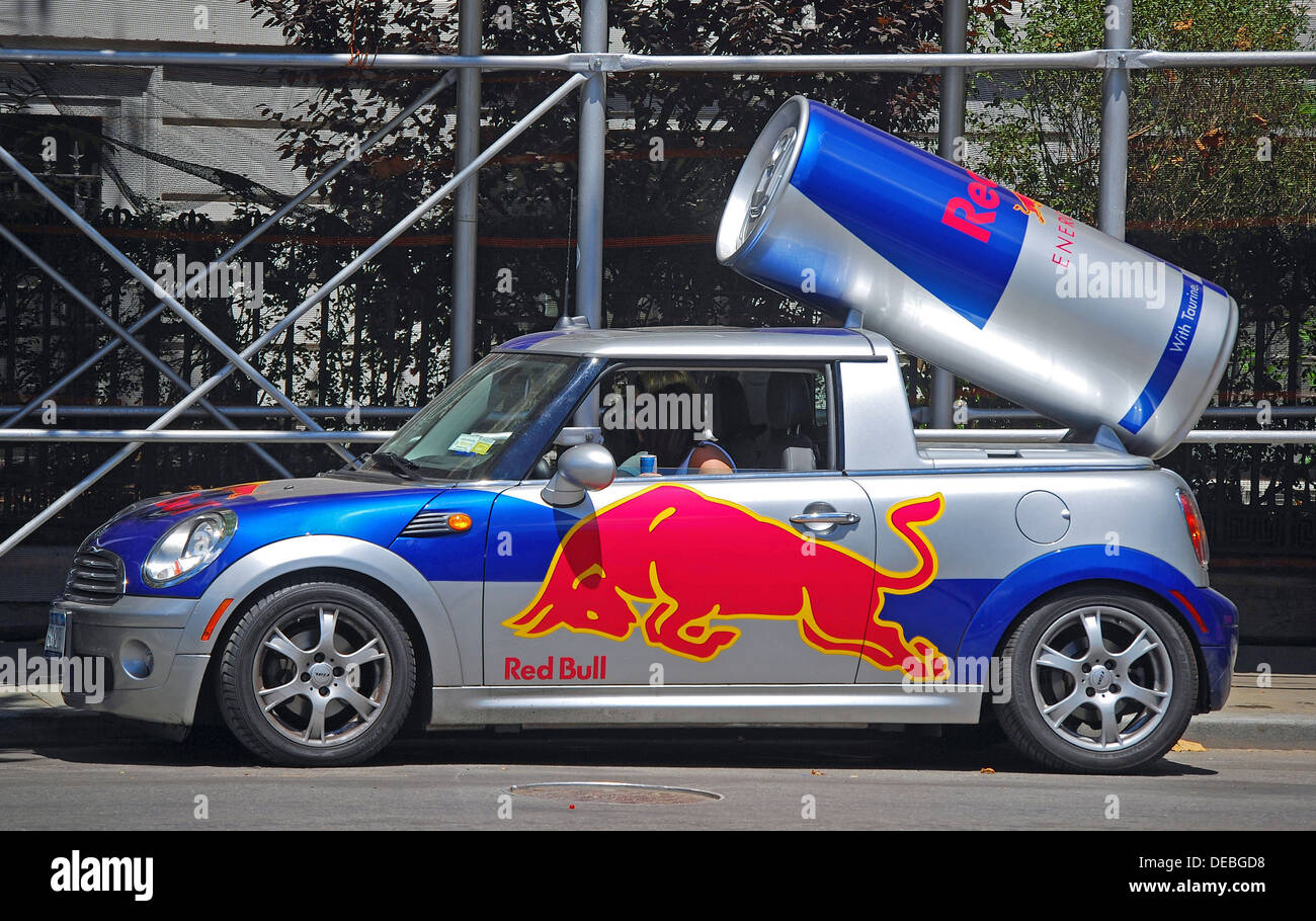 Mini Cooper Monster Energy >> A car advertising for Red Bull energy drink in the Greenwich Village Stock Photo: 60490676 - Alamy
