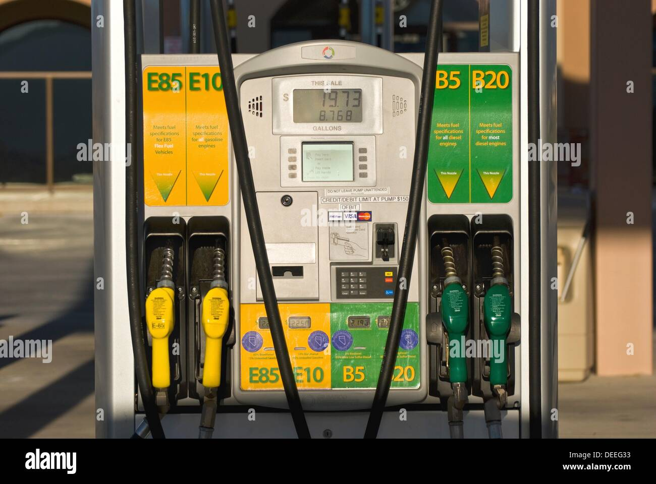 biodiesel ethanol fuel pumps at retail fuel station with e85 e10 stock photo royalty free. Black Bedroom Furniture Sets. Home Design Ideas