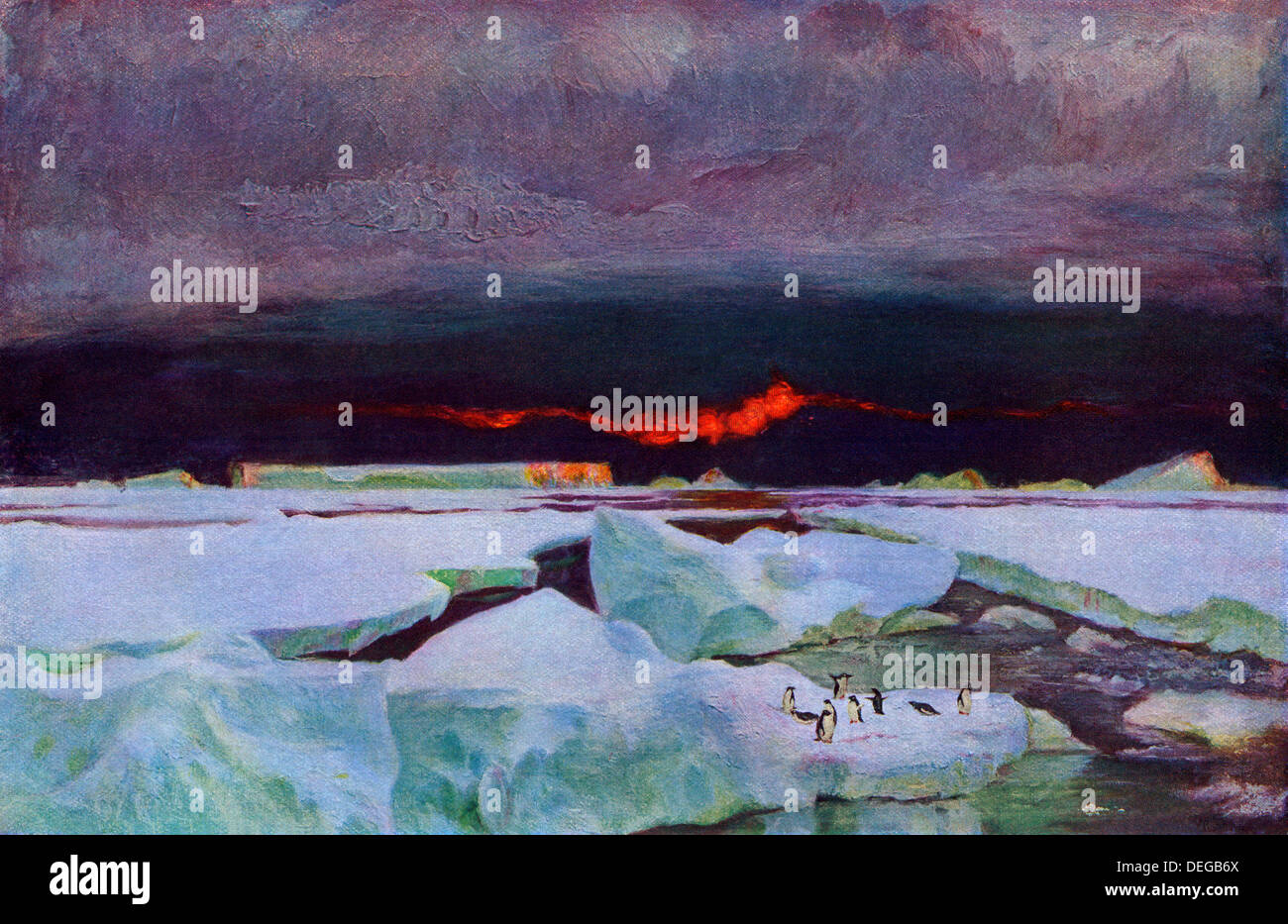 Antarctic sunset, 9:00 p.m., February 1902. Stock Foto