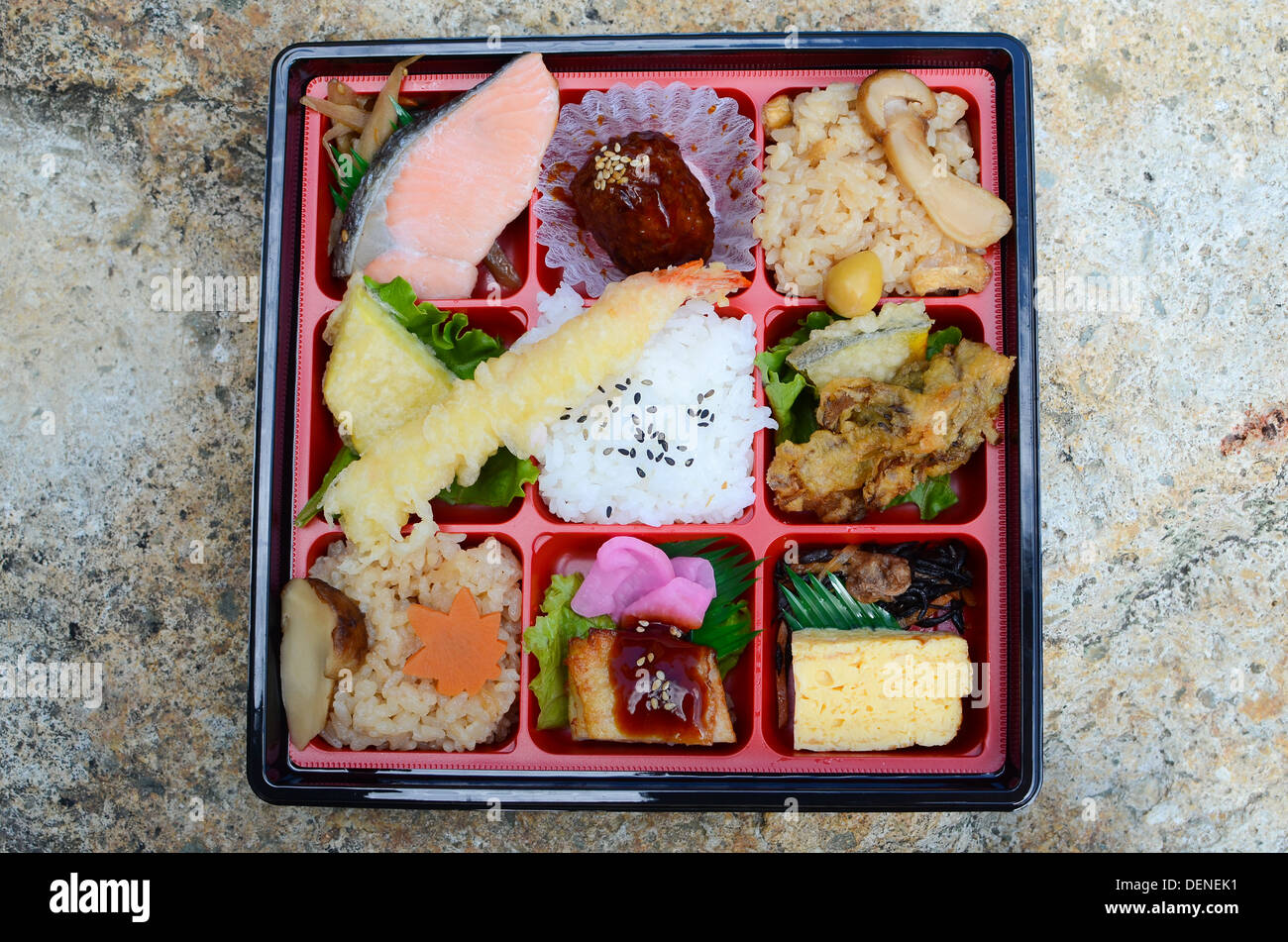 japanese bento lunch box from a supermarket with rice salmon stock photo royalty free image. Black Bedroom Furniture Sets. Home Design Ideas