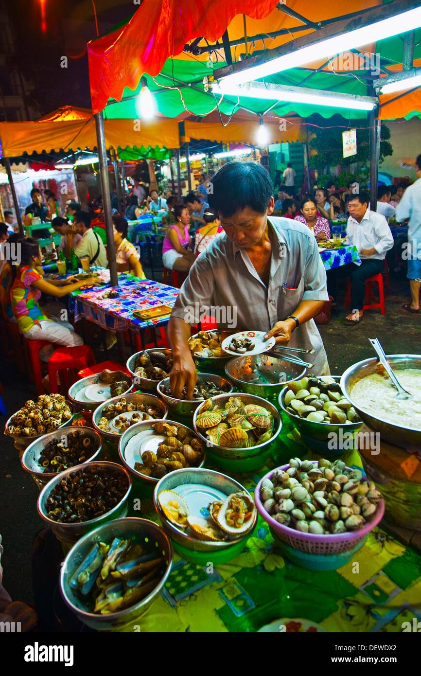 Stock Photo - Night Restaurants around Ben THanh Market. Ho Chi Minh City (formerly Saigon). South Vietnam
