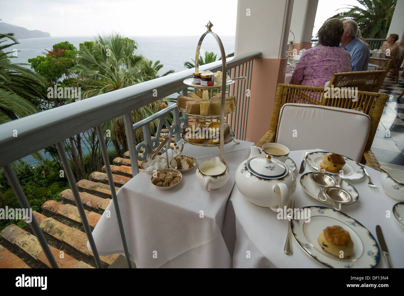 afternoon tea on the terrace at reid 39 s palace hotel funchal stock photo royalty free image. Black Bedroom Furniture Sets. Home Design Ideas