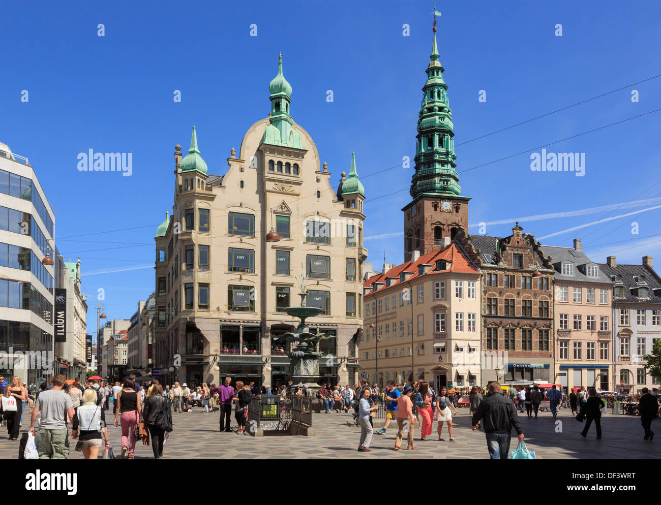amagertorv square with old city buildings around the stork fountain stock photo royalty free. Black Bedroom Furniture Sets. Home Design Ideas