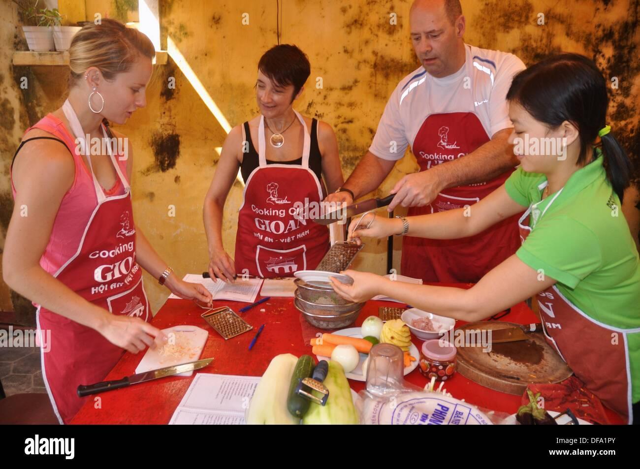 Stock Photo - Hoi An (Vietnam): tourists taking a Vietnamese cuisine class at Gioan Cooking School