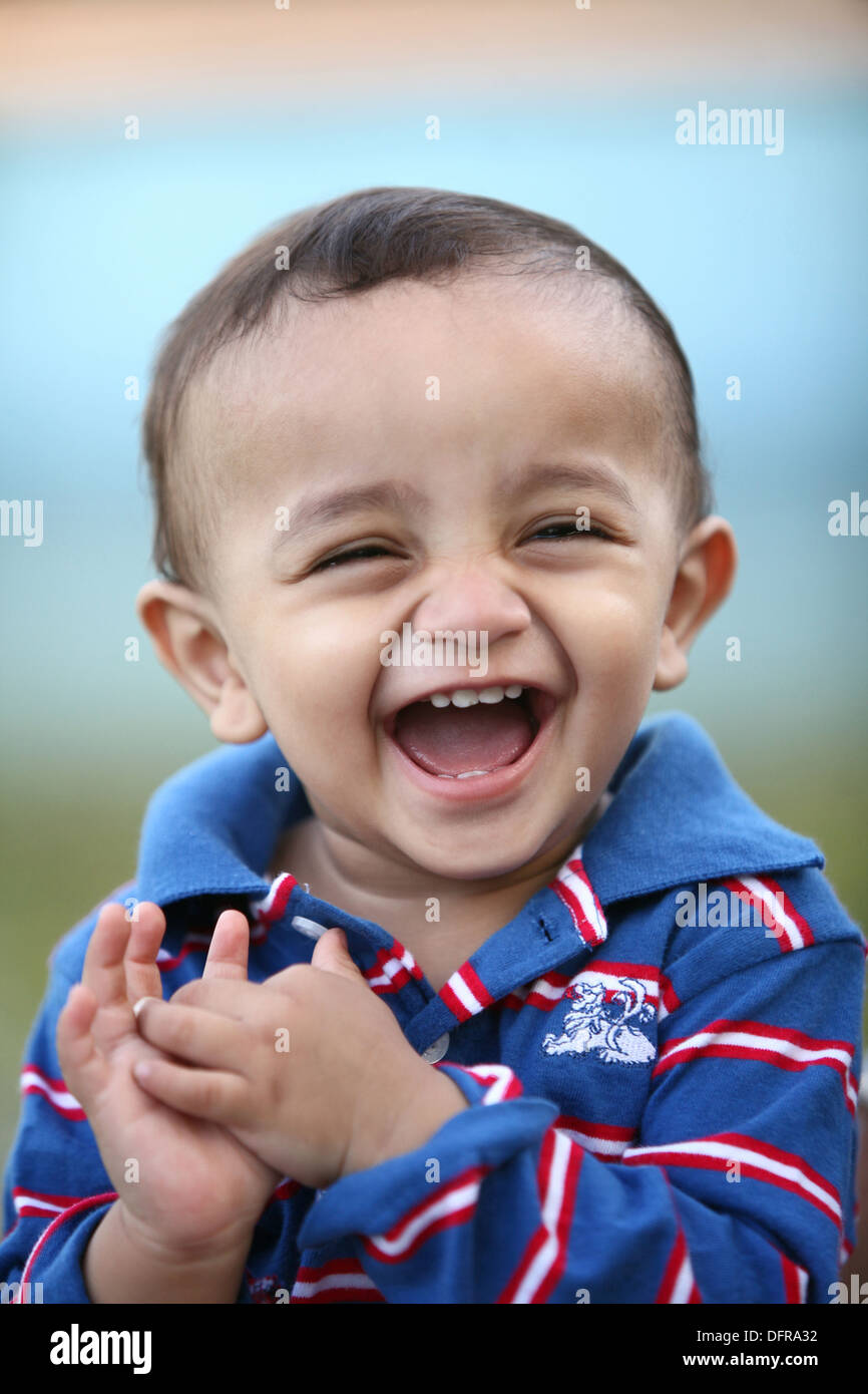 A 3 year old cheerful indian boy Stock Photo
