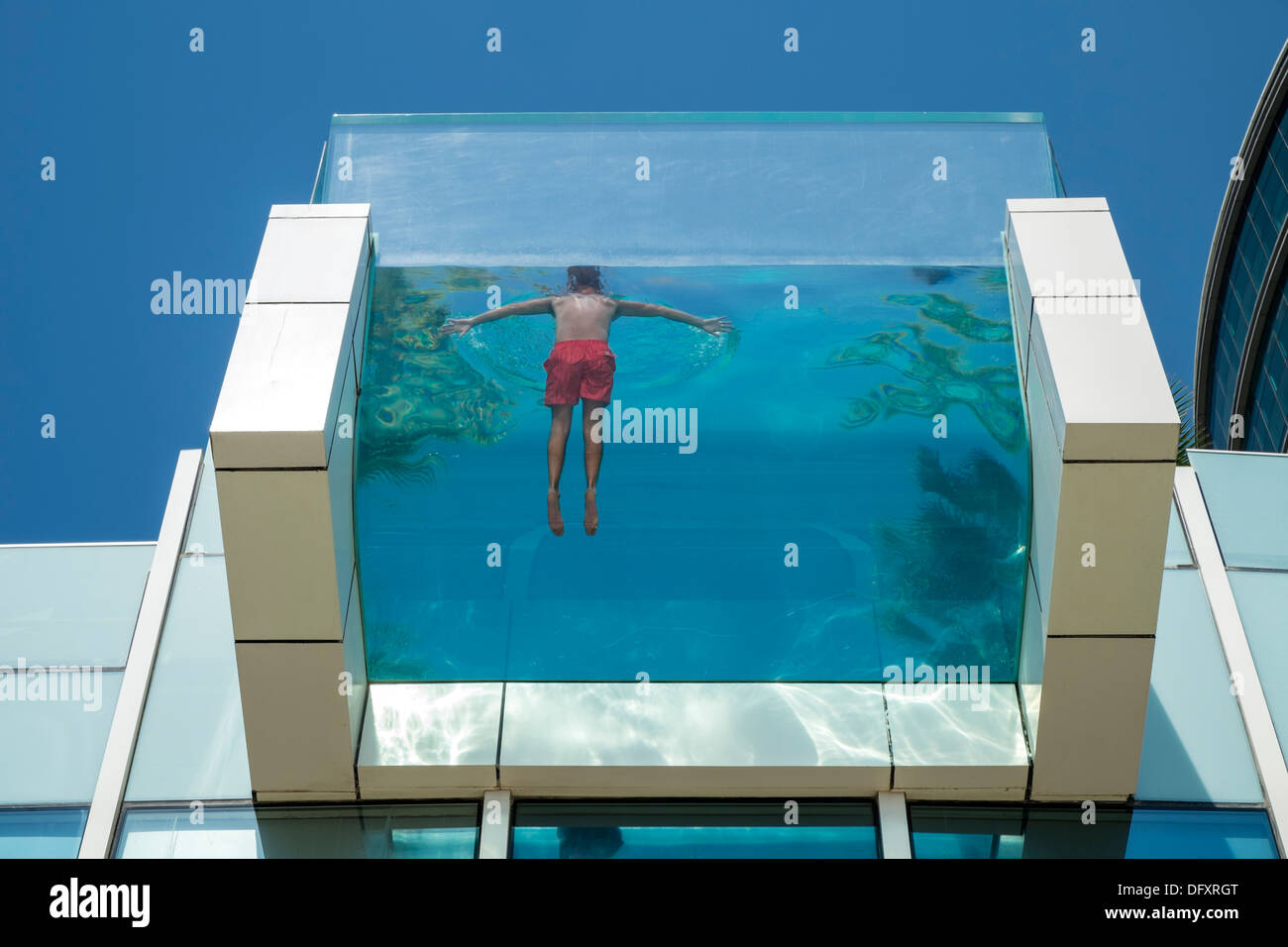 Glass Walled Swimming Pool At Intercontinental Hotel Festival City In Stock Photo Royalty Free