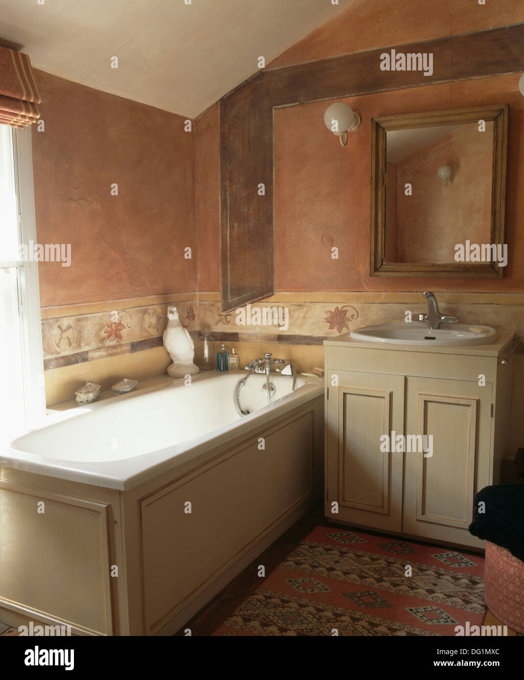 Tuscan Inspired Bathroom With Terracotta Color Washed Walls And Cream Stock Photo Royalty Free