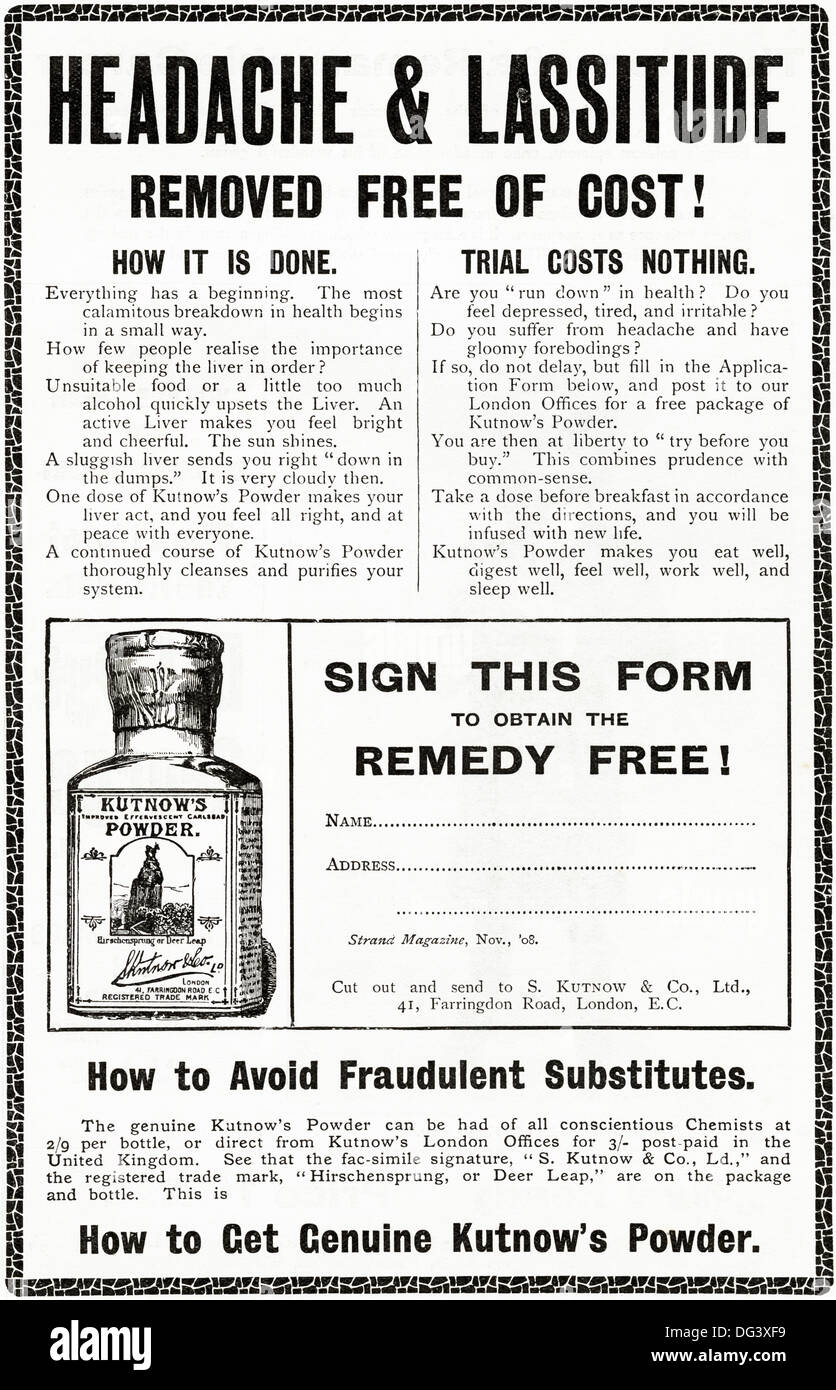 Original 1900s advertisement advertising KUTNOW'S POWDER for good health. Magazine advert circa 1908 Stock Photo