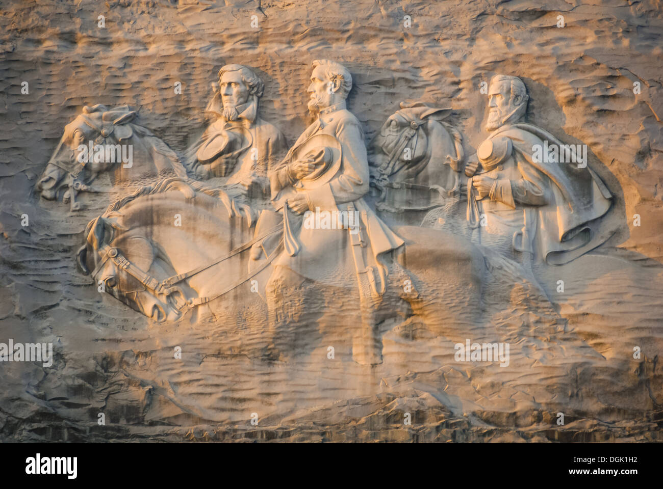 Stone mountain park carving of confederate leaders robert
