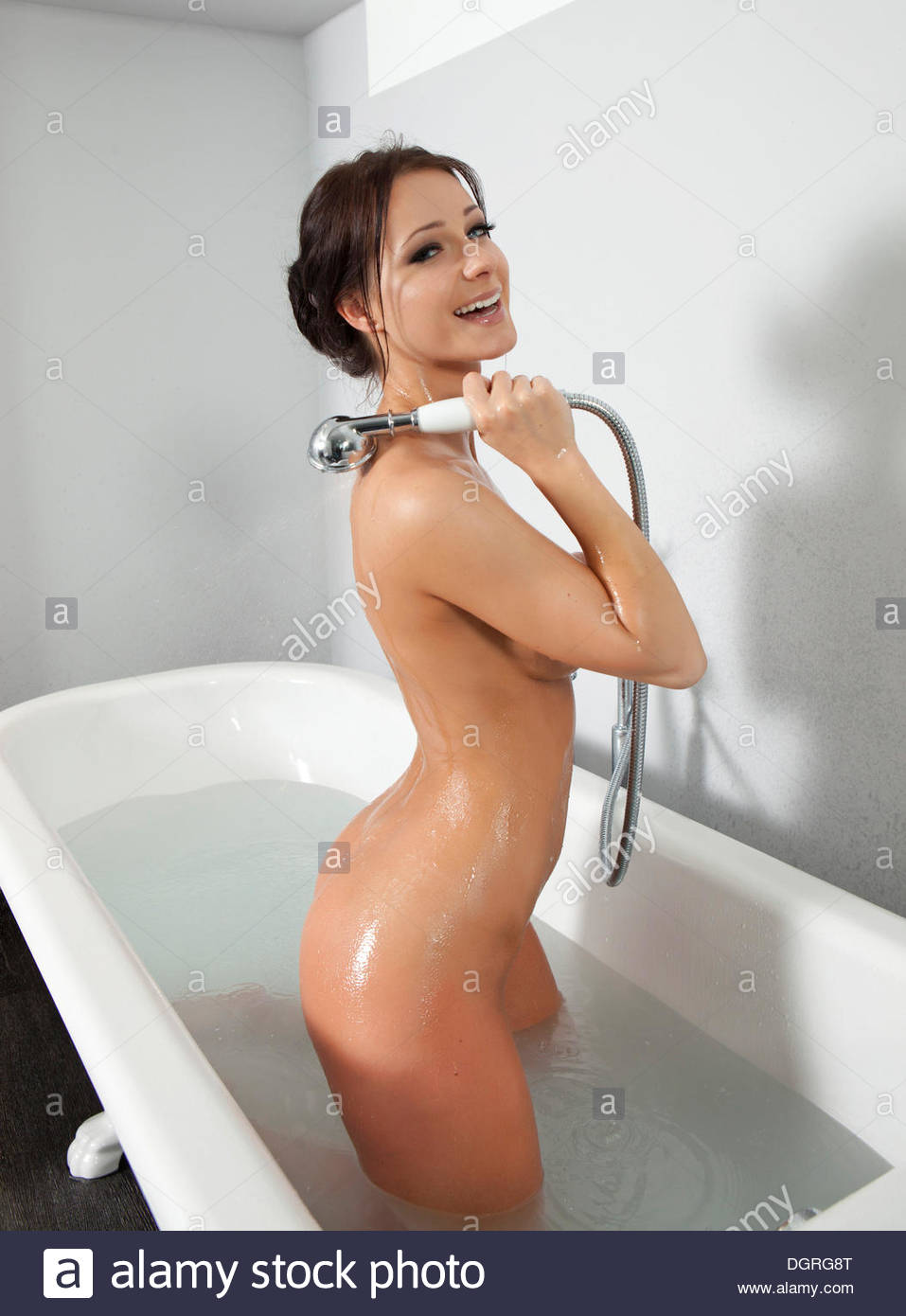 Naked humans in shower