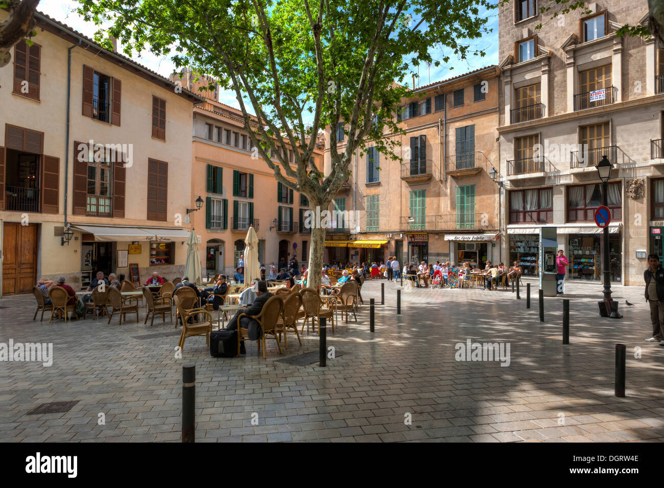 street cafes on pla a de santa eulalia square historic town centre stock photo royalty free. Black Bedroom Furniture Sets. Home Design Ideas