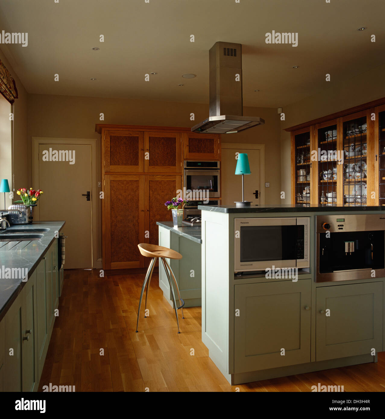 Island Units For Kitchens: Microwave And Oven In Island Unit In Modern Kitchen With