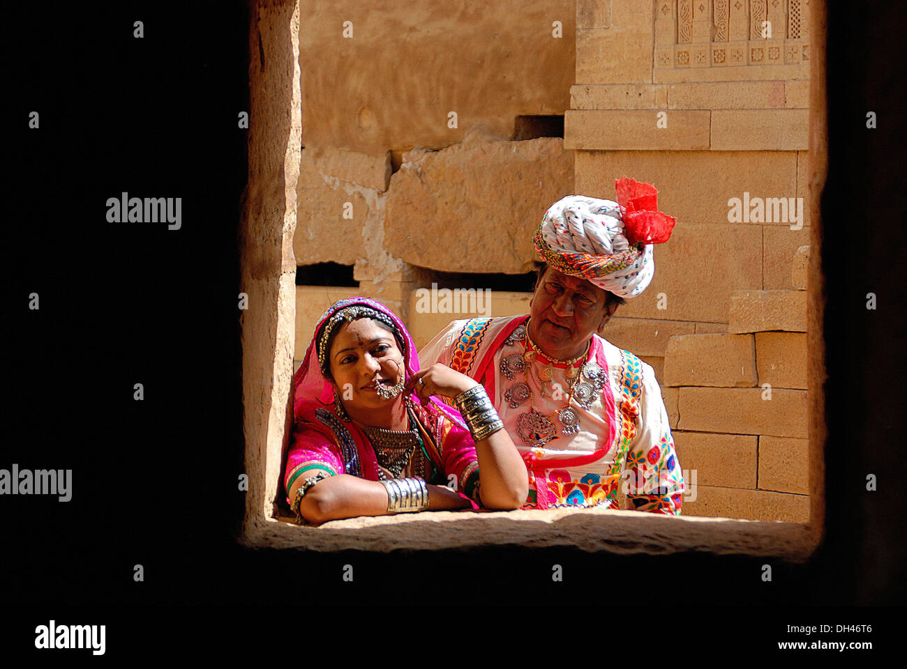Indian man and woman in traditional dress Jaisalmer Rajasthan India Asia   MR#784B&784C Stock Foto