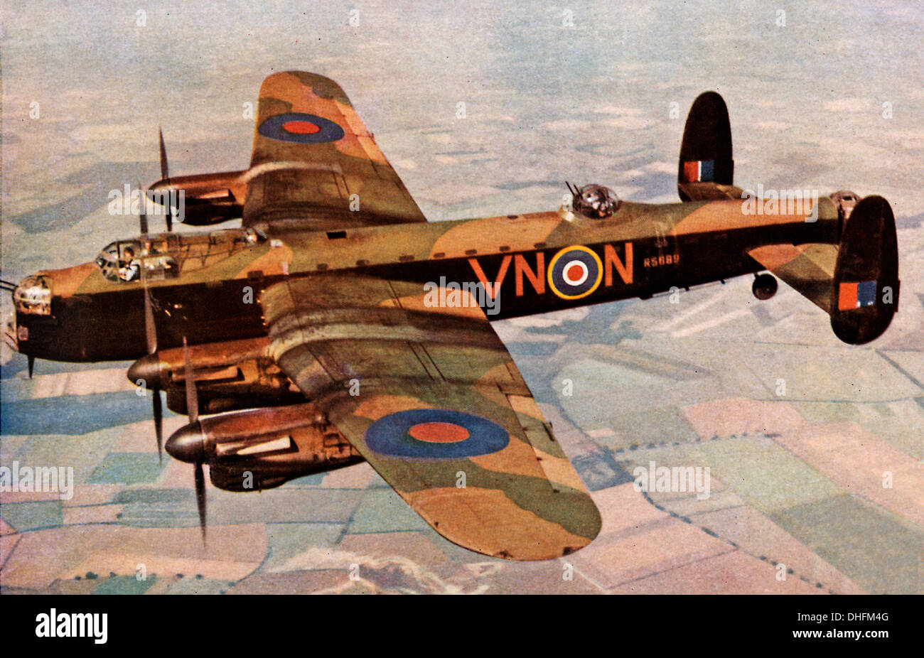 Lancaster Bomber In Flight 1942 Colour Photo Of The