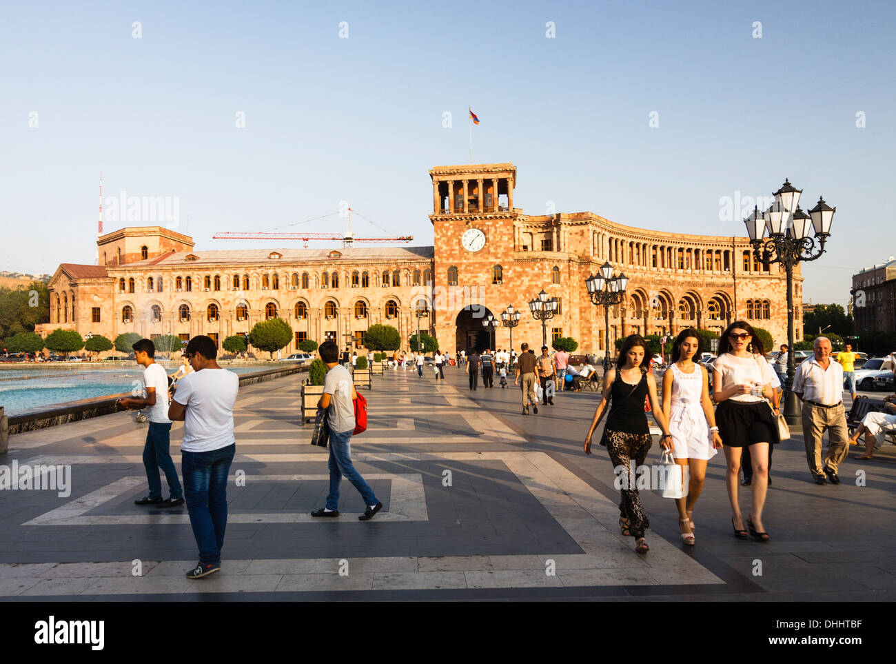 People at Republic Square. Yerevan, Armenia Stock Photo